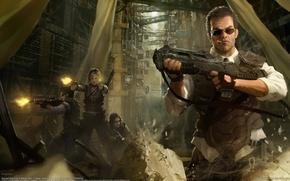Обои город, камни, оружие, девушки, арт, очки, сигарета, автомат, стрельба, мужчина, marek okon