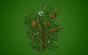 Картинка музыка, дерево, Зеленый, инструменты