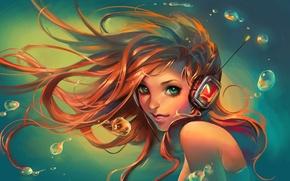 Обои взгляд, вода, девушка, улыбка, наушники, art, sakimichan