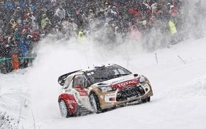 Картинка Снег, Люди, Поворот, Citroen, DS3, WRC, Rally, Фанаты, Соревнования