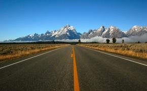 Обои разметка, дорога, горы