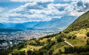 Картинка облака, горы, природа, city, город, франция, лион