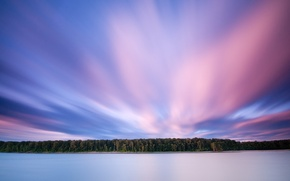 Картинка лес, облака, озеро, розовый, 156