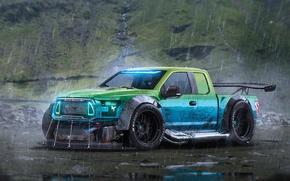 Обои Ford, Car, Rain, Rendering, F-150, by Khyzyl Saleem, RaptorTrax