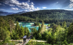 Картинка лес, облака, деревья, горы, озеро, Швейцария, склон, hdr, подъемник, Caribbean, Lake Cauma