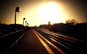 Обои пирон, вокзал, закат