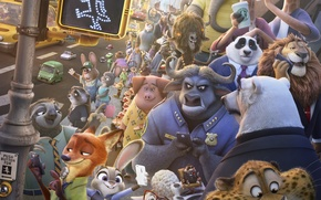Картинка cinema, Disney, bear, horns, fox, rhino, tiger, jaguar, police, rabbit, lion, cartoon, movie, giraffe, bull, ...