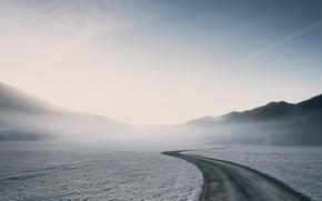 Картинка дорога, снег, туман