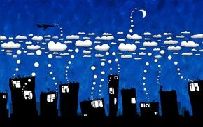 Картинка город, Облака, юмор
