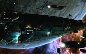 Картинка космос, будущее, планета, корабли, звёзды, астероиды, space, stars, sci-fi, planet, вторжение, ships, научная фантастика, футуристический …