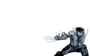 Картинка рисунок, минимализм, когти, белый фон, черно-белое, Росомаха, Логан, Wolverine, Logan, комикс, марвел, Marvel Comics, James …