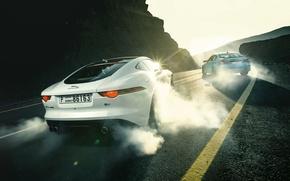 Картинка Jaguar, BMW, Cars, Sports, Smoke, Rear, F-Type R, Drifting