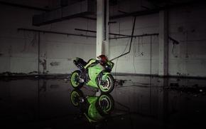 Картинка отражение, green, фары, мотоцикл, зеленая, yamaha, bike, ямаха, yzf-r1