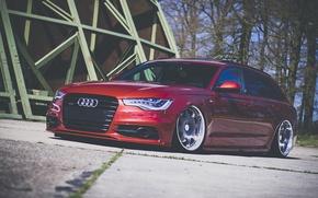 Картинка Audi, red, wagon, stance, avant