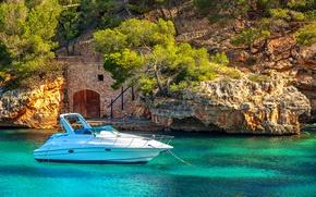 Картинка море, скалы, яхта, Испания, sea, Spain, Mallorca, Mediterranean