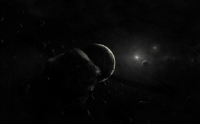 Обои планета, Черный, астероиды
