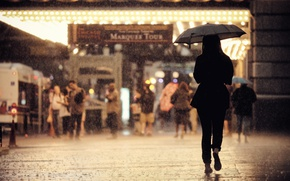 Картинка girl, United States, Chicago, Illinois, umbrella, street, people, back, cityscape, sidewalk, raining, urban scene