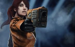 Обои sci-fi. оружие, фантастика, девушка, арт