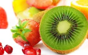 Картинка лимон, киви, клубника, lemon, фрукты, strawberry, гранат, kiwi, pomegranate, Fruits