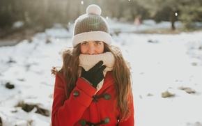Картинка зима, девушка, лицо, шапка, пальто, Miriam