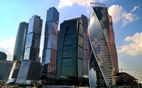 Картинка небо, облака, city, Москва, Россия, Russia, небоскрёбы, sky, modern, Moscow, Москва-Сити, buildings, skyscrapers, travel, arhitecture, …
