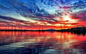 Картинка море, небо, облака, закат, горы