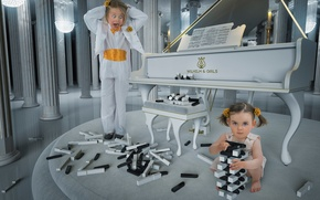 Картинка пианино, клавиши, дети, девочки