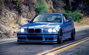Картинка BMW, Coupe, blue, series, E36