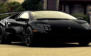 Картинка Машина, Черная, Car, Автомобиль, Lamborgini, Black, Murcielago, Ламборгини, LP670-4, Передок