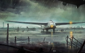 Картинка обломки, огни, самолет, дождь, пасмурно, арт, аэропорт