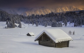 Картинка зима, лес, деревья, горы, слег