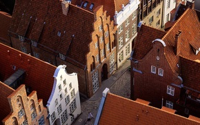 Картинка крыша, улица, дома, Германия, Любек, черепица, Шлезвиг-Гольштейн