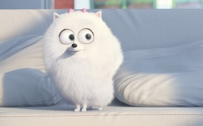 Картинка adventure, movie, white, animal, drawing, pad, official wallpaper, film, cinema, couch, big eyes, family, puppy, ...