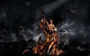 Обои статуя, птицы, пепел, огонь