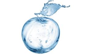 Картинка вода, брызги, splashing water, Apple out of the water, яблоко из воды