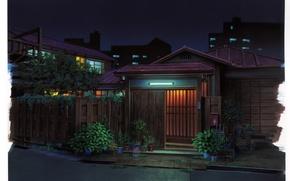 Картинка свет, улица, забор, дома, растения, вечер, ворота, горшки, art, Kusanagi, Япони