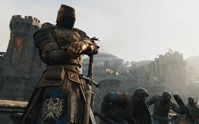 Картинка Microsoft, fire, flame, sword, Sony, armor, war, cross, lion, Ubisoft, man, ken, flags, castle, hero, …