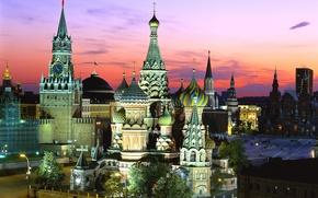 Обои Россия, Храм Василия Блаженного, Спасская башня, Красная площадь, Москва