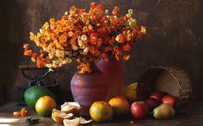 Обои цветы, букет, груши, авокадо, яблоки, мандарины