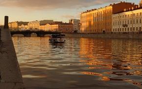 Картинка вода, закат, Питер, катер, Санкт-Петербург, канал