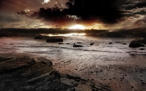 Обои песок, море, восход, скалы