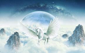 Картинка космос, фантастика, скалы, конь, магия, лошадь, планета, крылья, горизонт, фэнтези, арт, Млечный Путь, небосвод, взмах, ...