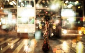 Картинка девушка, фон, улица