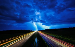 Картинка дорога, ночь, огни, молния
