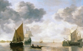 Картинка картина, тучи, лодка, корабль, Simon Jacobsz de Vlieger, люди, парусник, море, небо, горизонт, парус, пейзаж