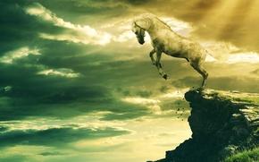 Картинка Скала, Rock, белый конь, White Horse