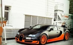 Обои veyron, бугатти, supercar, суперкар, суперспорт, building, вейрон, Bugatti, supersport, черный. оранжевый, 16.4, дом, black, orange