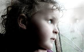 Обои Портрет, отражение, ребенок