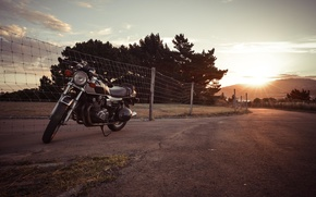 Картинка suzuki, road, sunset, motorcycle, gs850