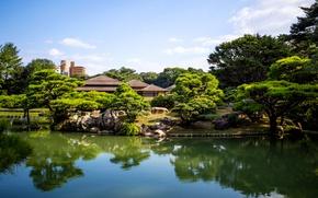 Картинка деревья, природа, пруд, фото, Япония, сад, Takamatsu, Japan Ritsurin garden